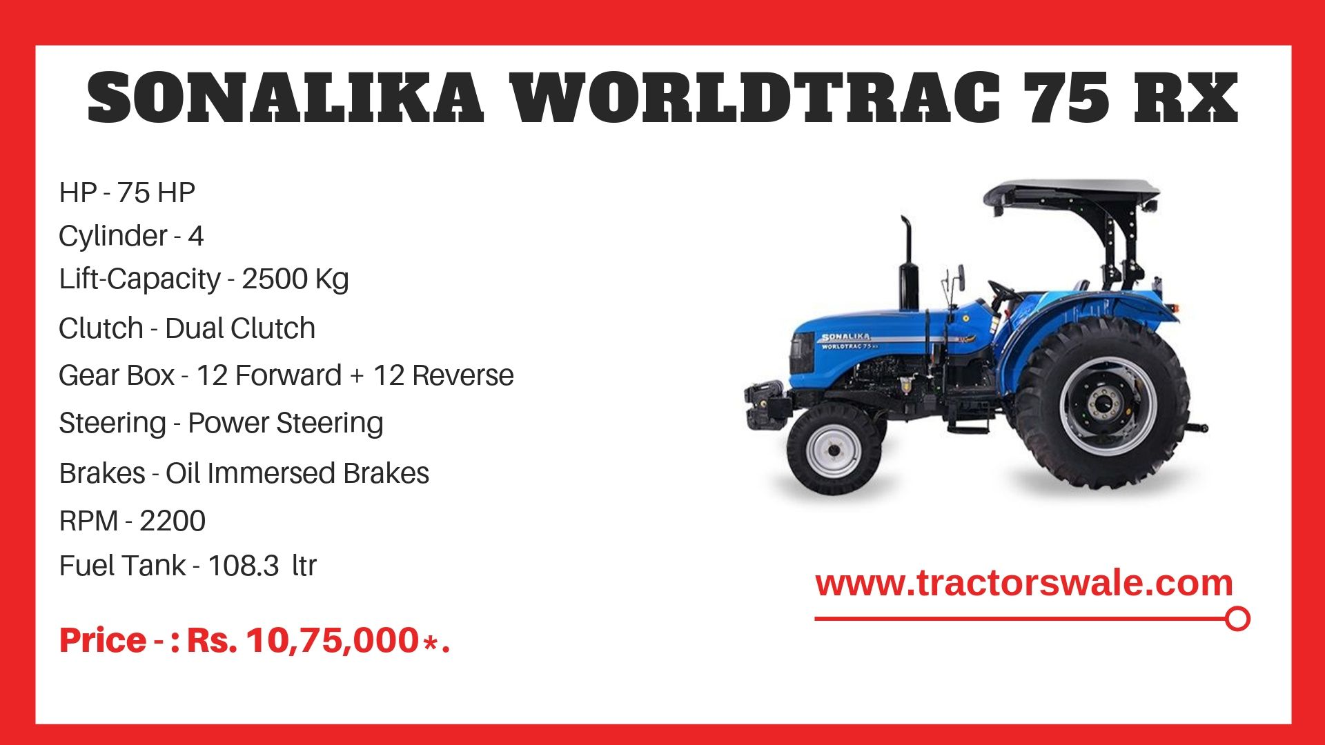 Sonalika Worldtrack 75 RX tractor specifications