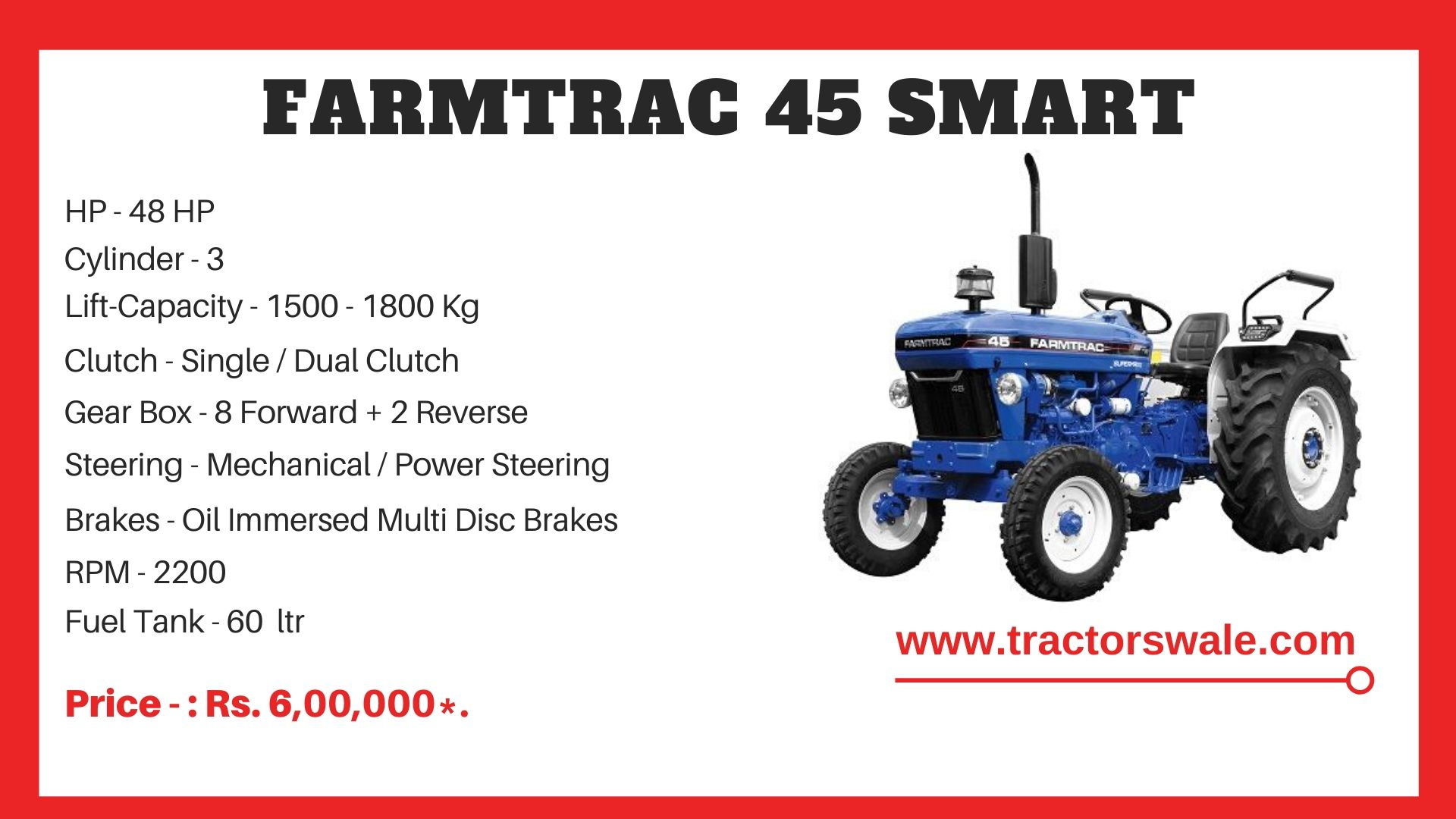 Farmtrac 45 Smart tractor price