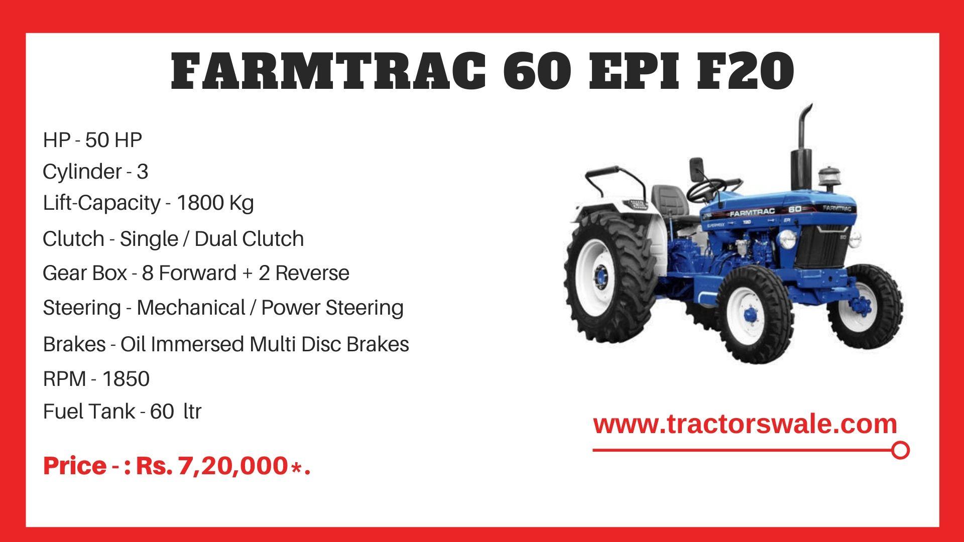 Farmtrac 60 F20 tractor price
