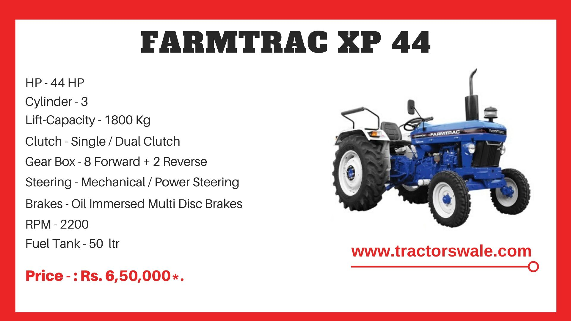 Farmtrac XP 44 tractor price