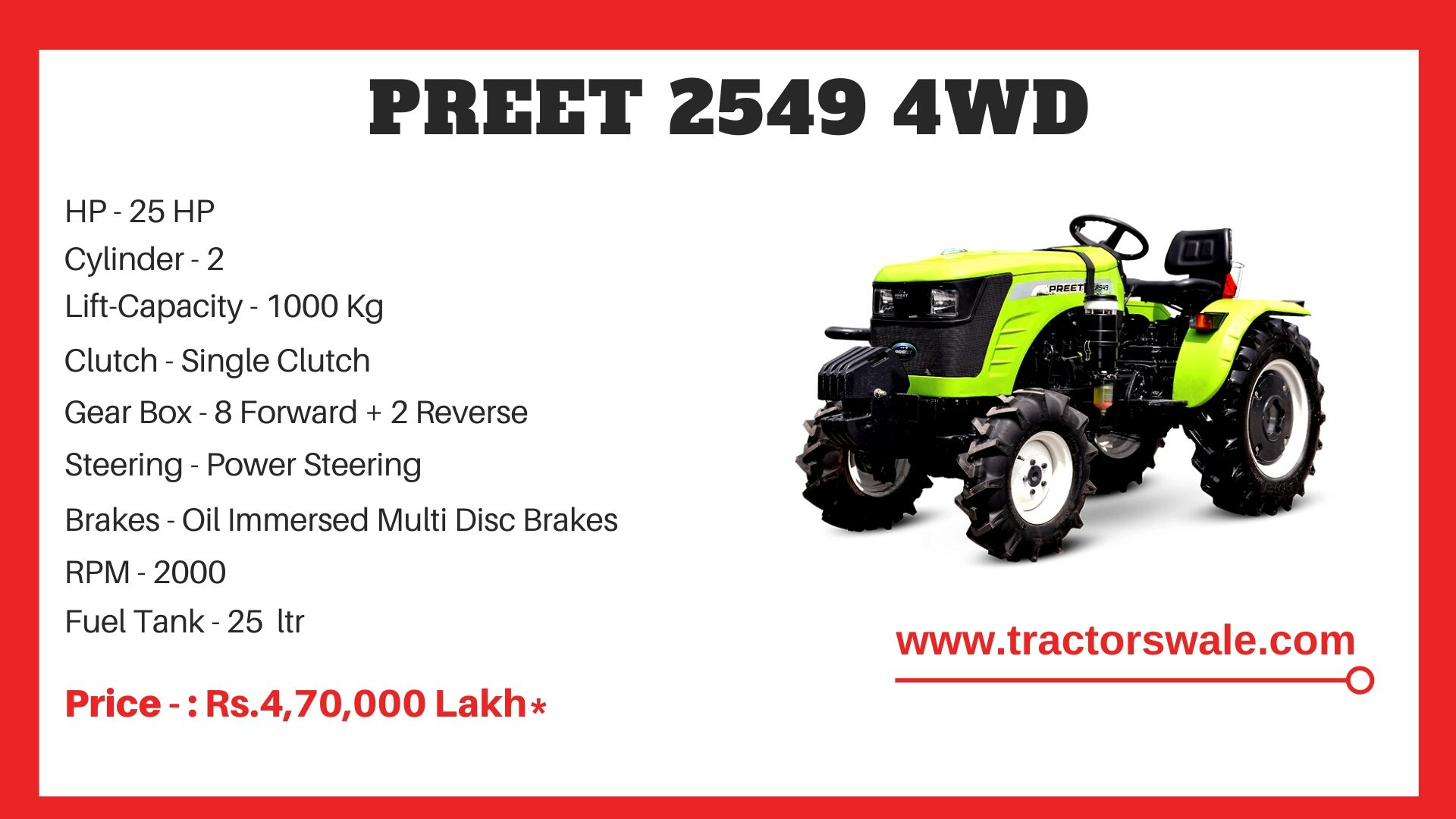 Preet 2549 4WD tractor price