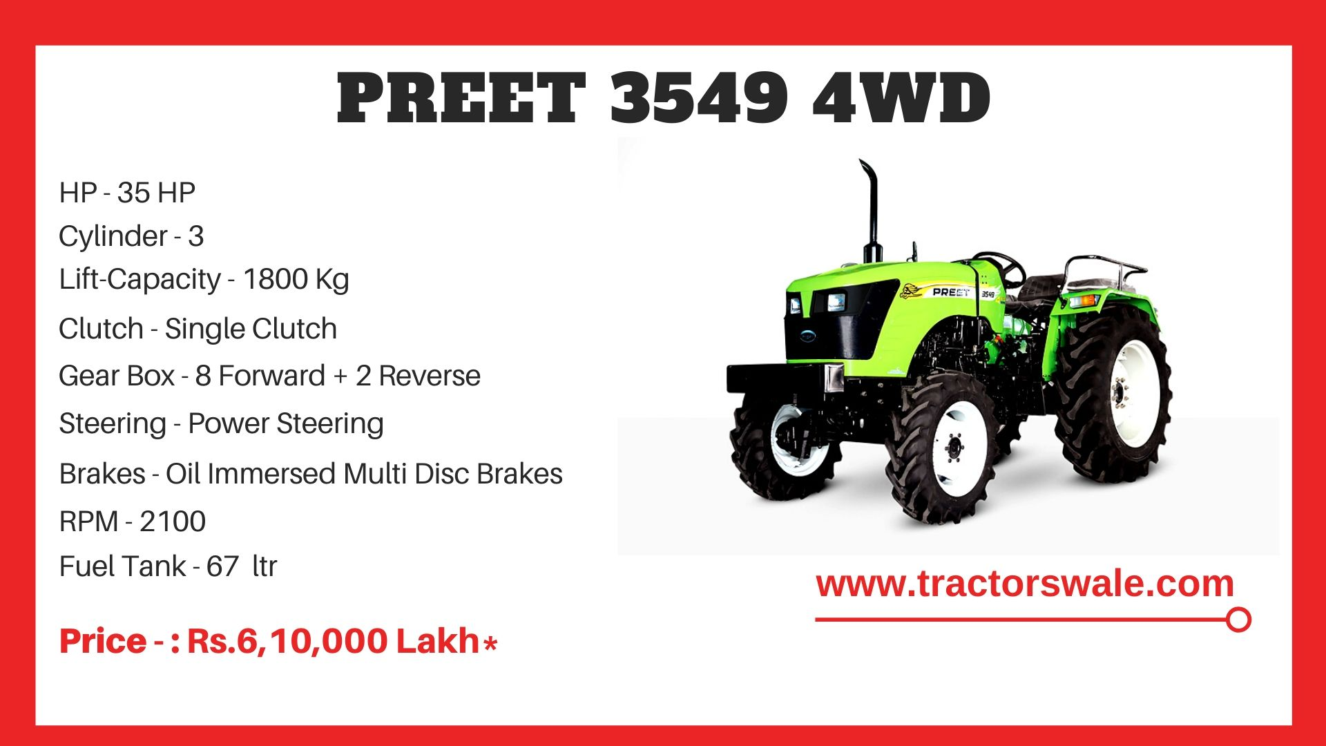 Preet 3549 4WD tractor Price