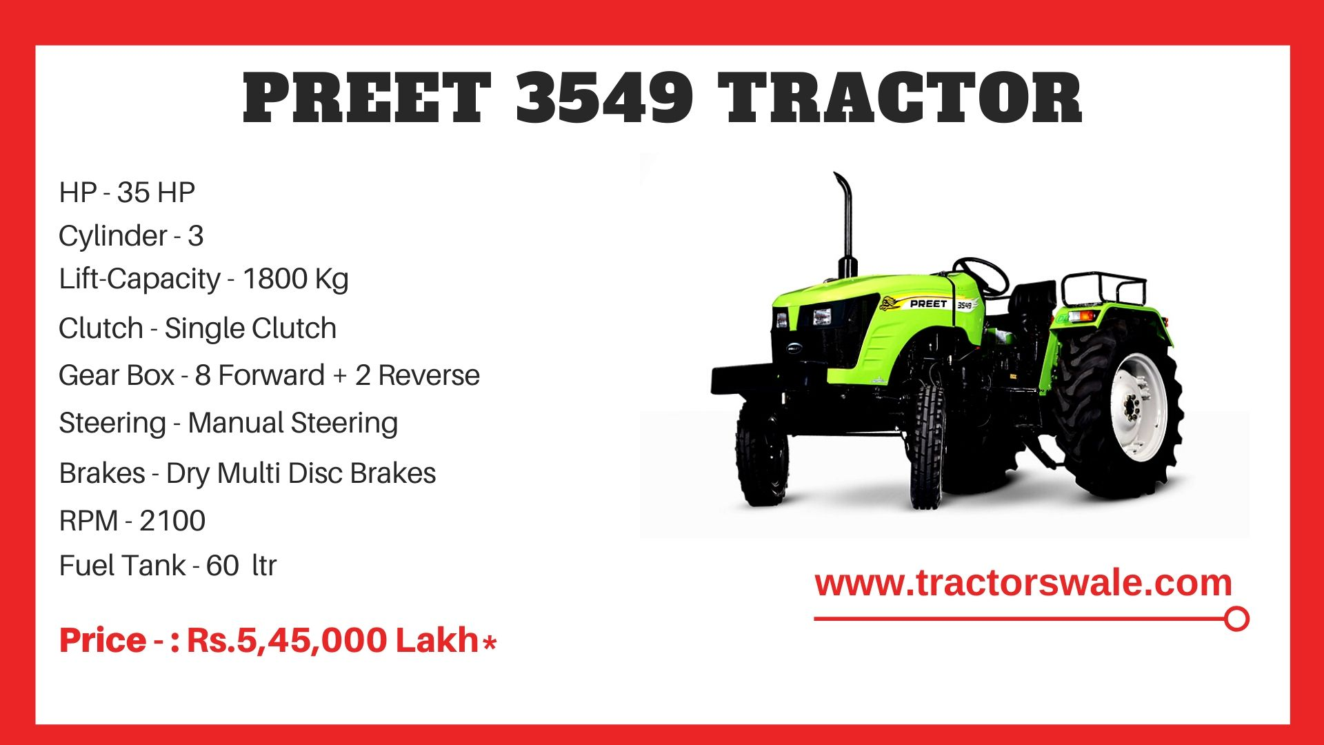 Preet 3549 tractor price