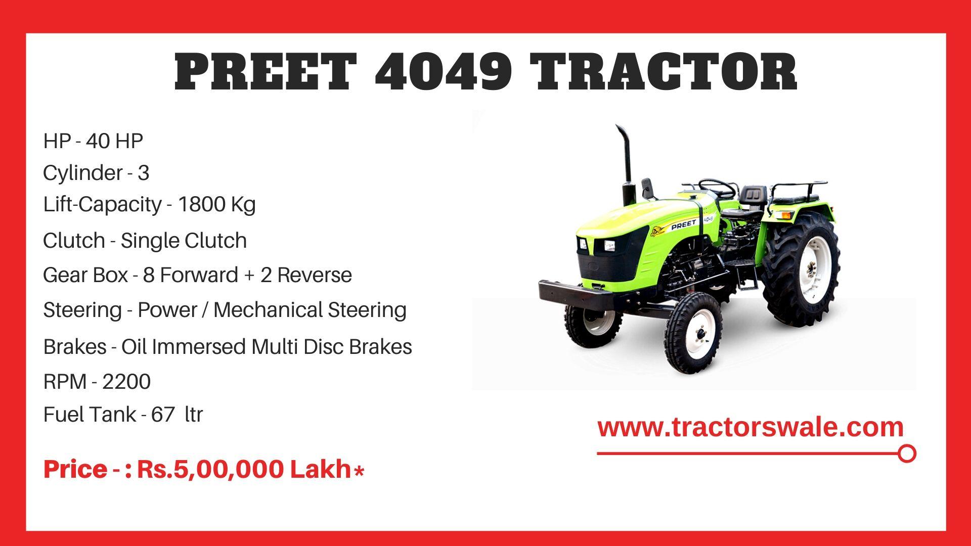 Preet 4049 tractor price
