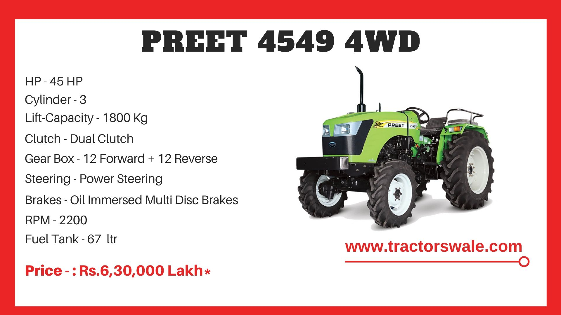 Preet 4549 4WD Tractor price