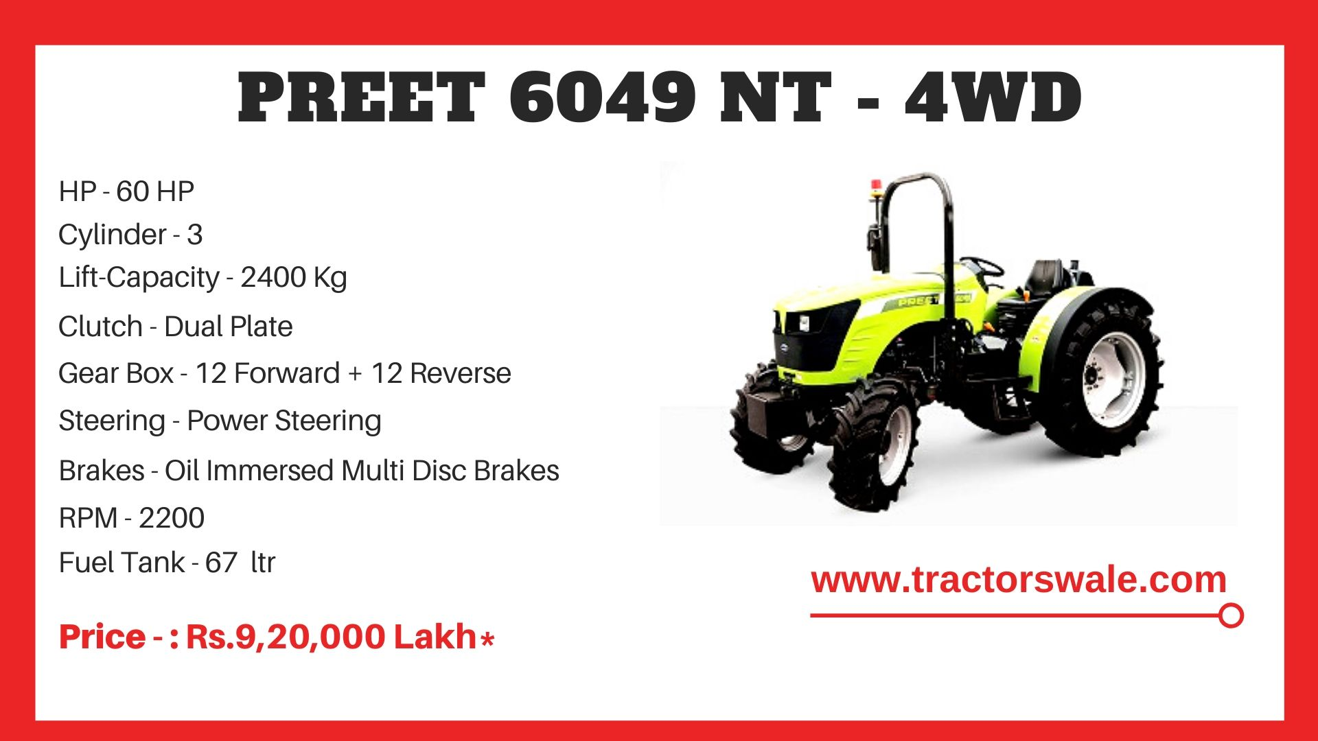 Preet 6049 NT 4WD tractor price