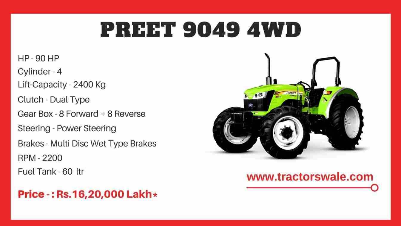 Preet 9049 4WD tractor price