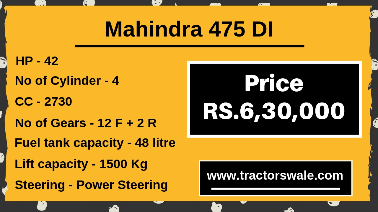 mahindra 475 di tractor price