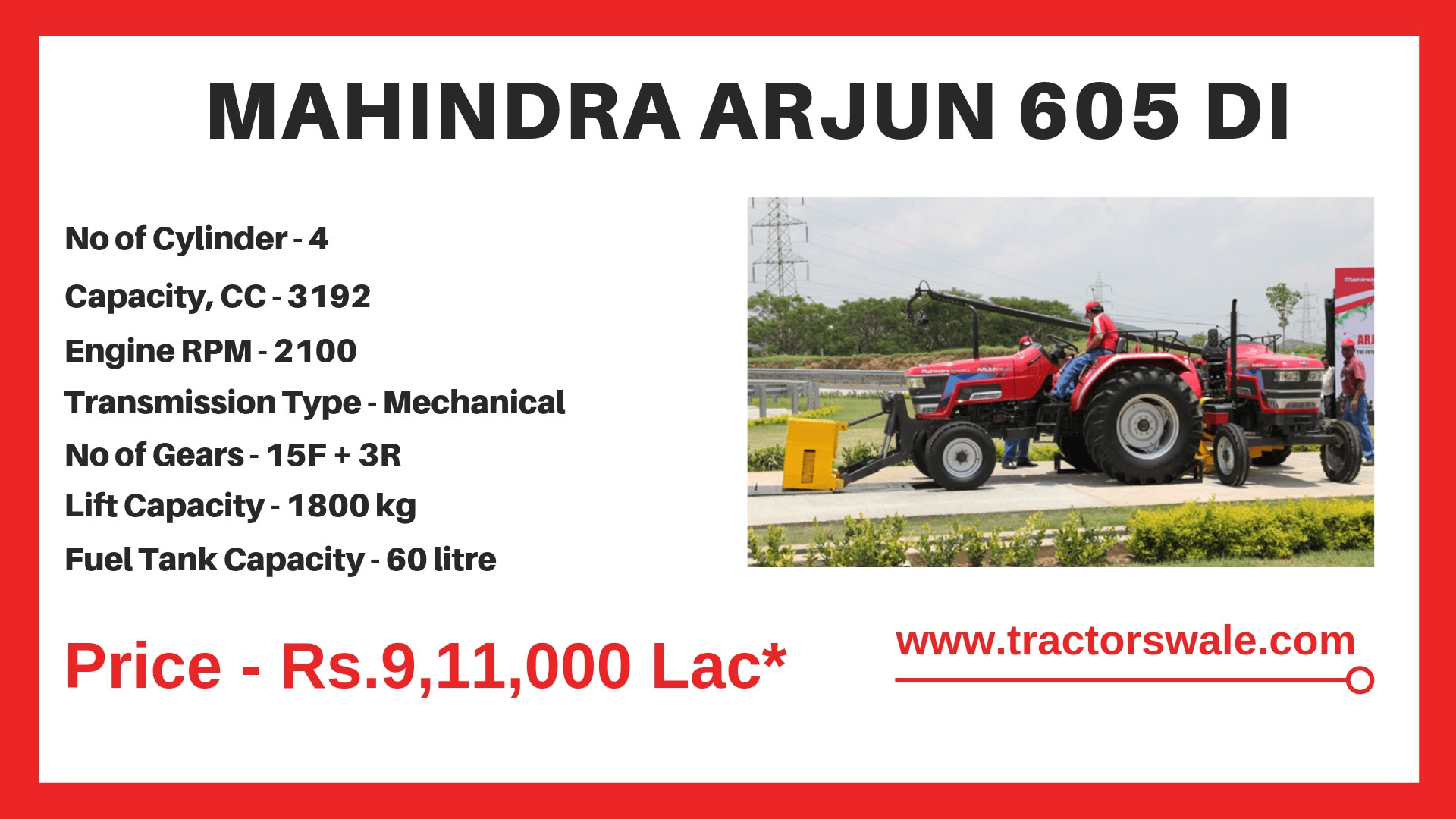 Mahindra Arjun Novo 605 DI Tractor Specifications