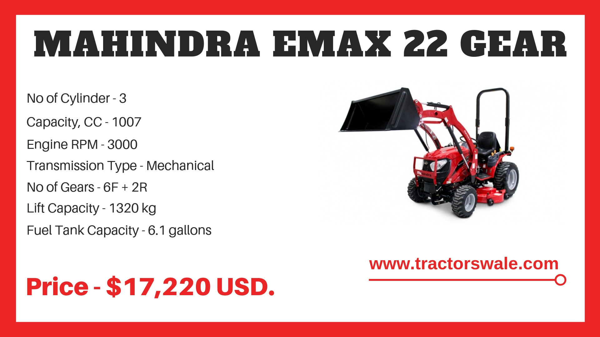 Mahindra-Emax-22-Gear-Mini-Tractor-Specifications
