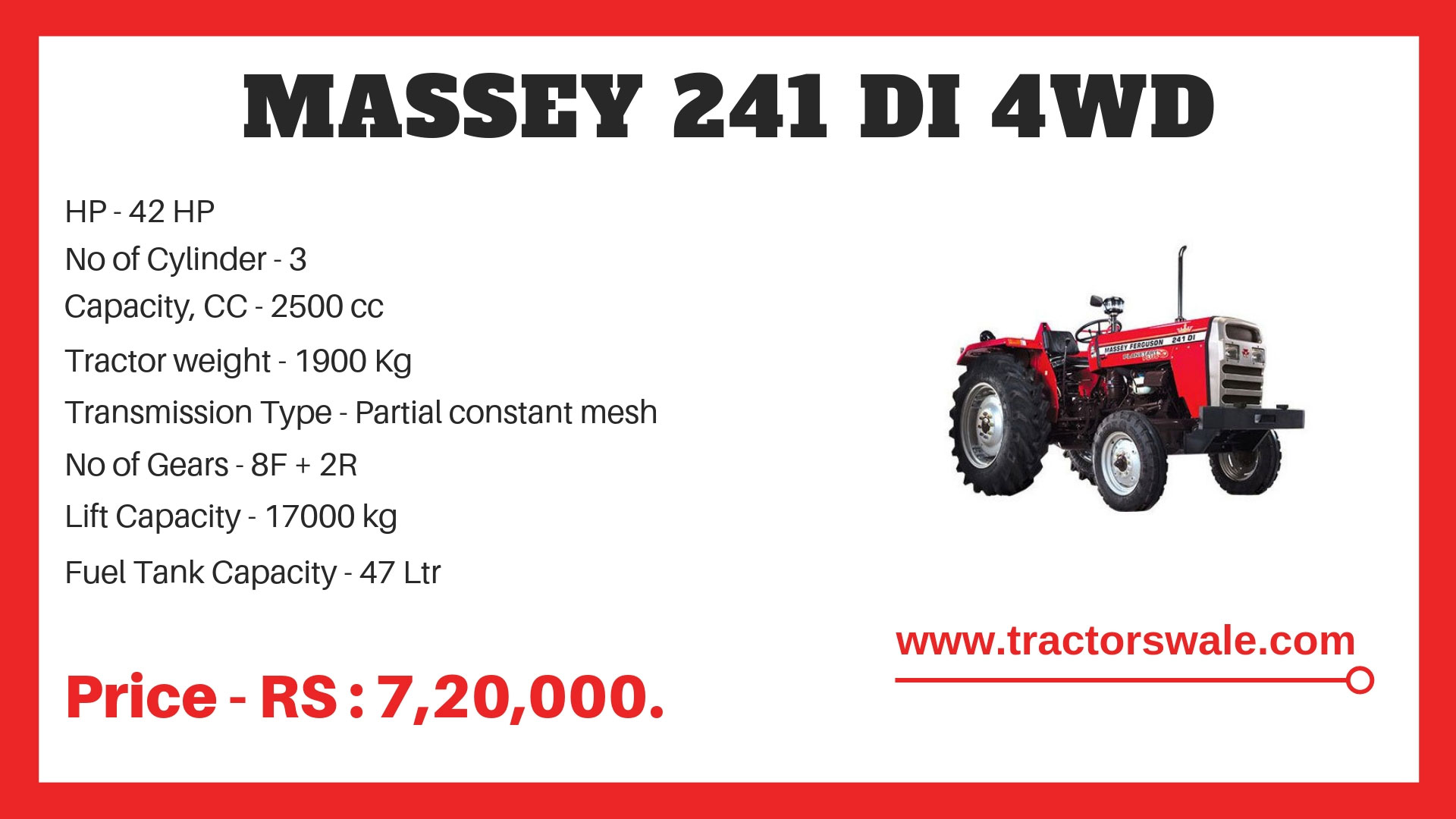 massey 241 di 4wd tractor specification