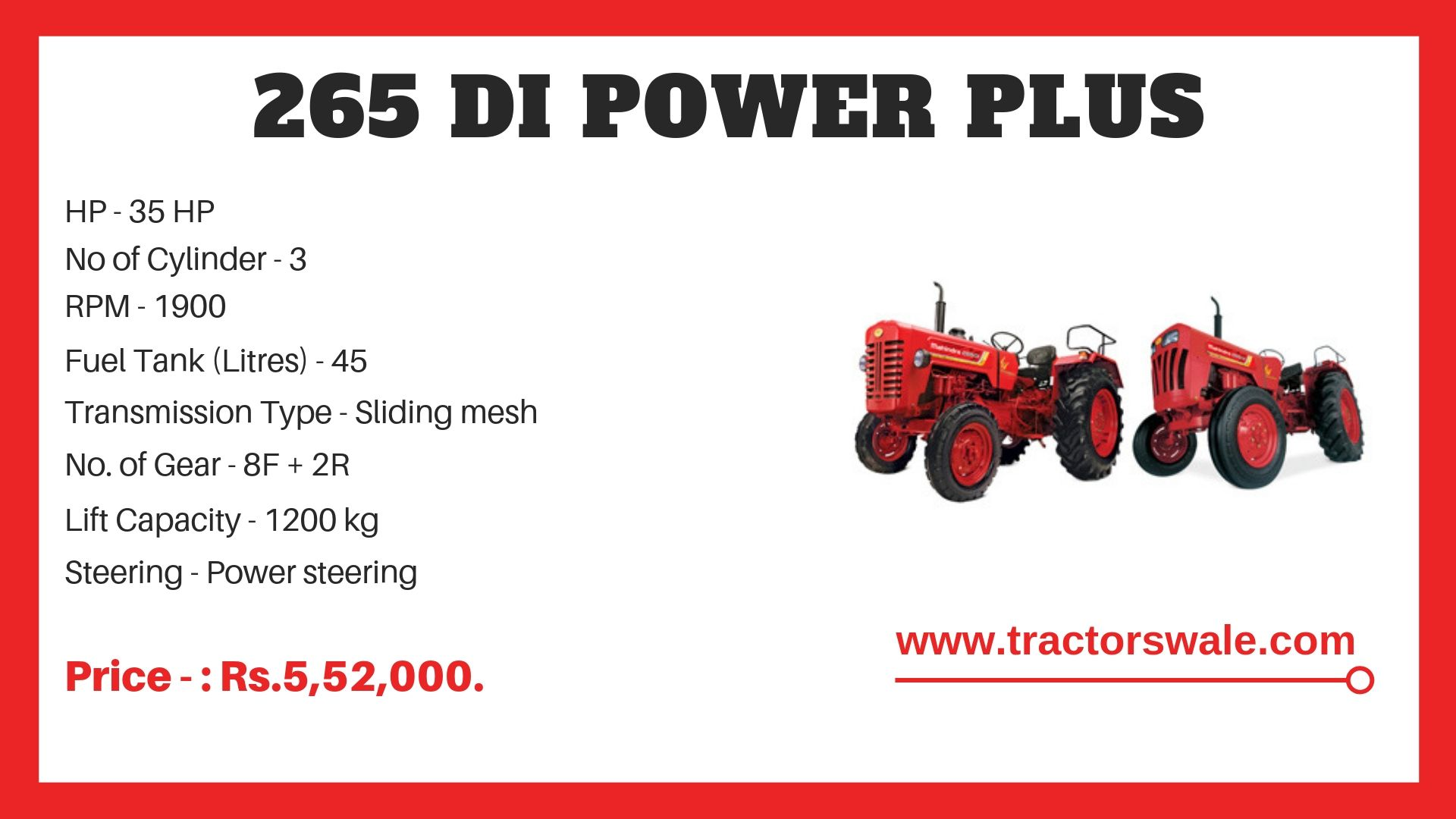 265 DI Power Plus Tractor