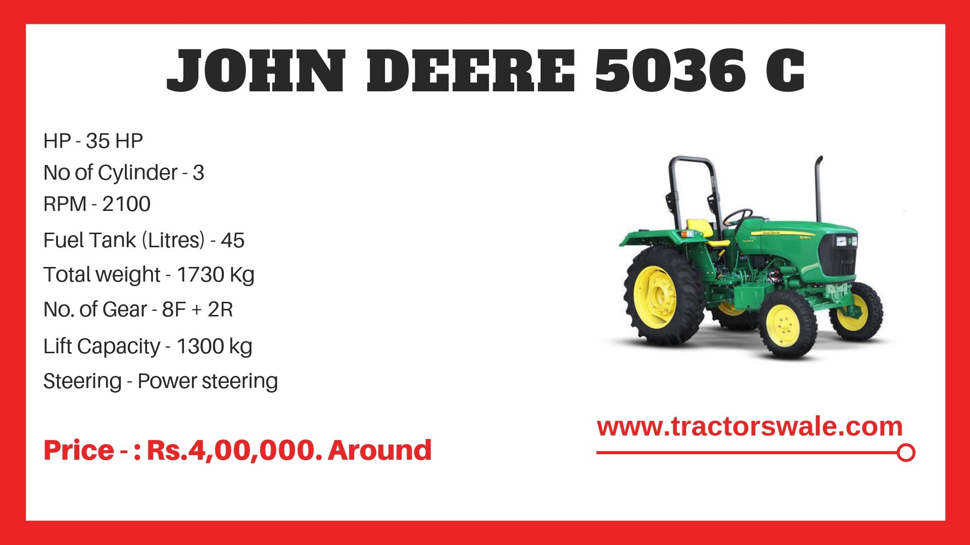 John Deere 5036 C Specifications