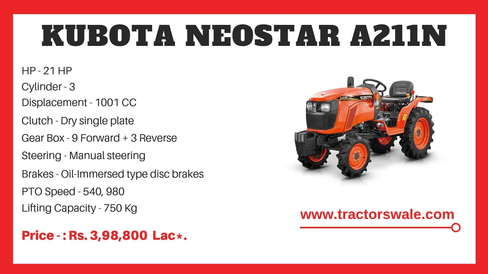 Specifications Of Kubota A211N Tractor
