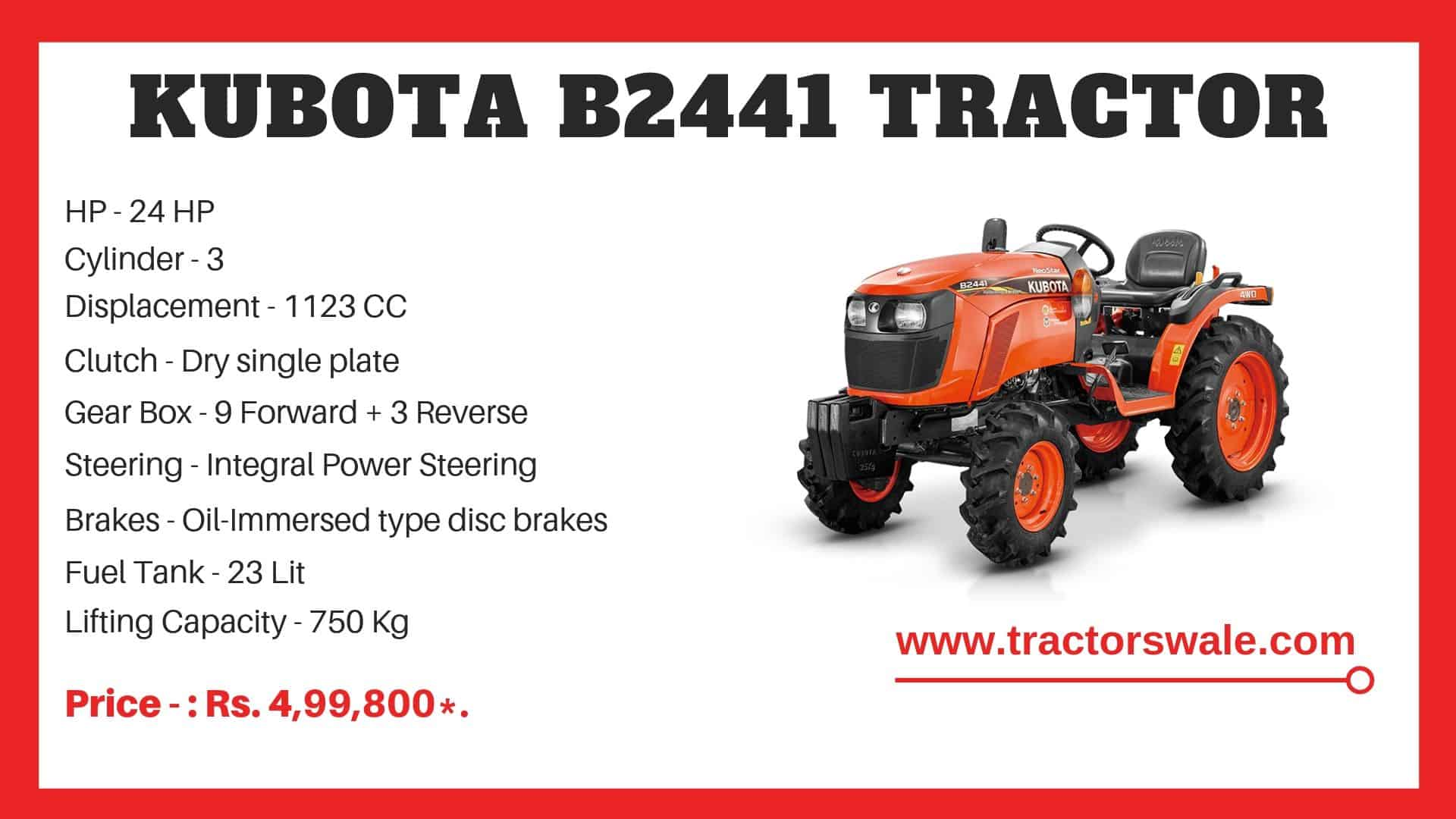 Specifications Of Kubota NeoStar B2441 Tractor