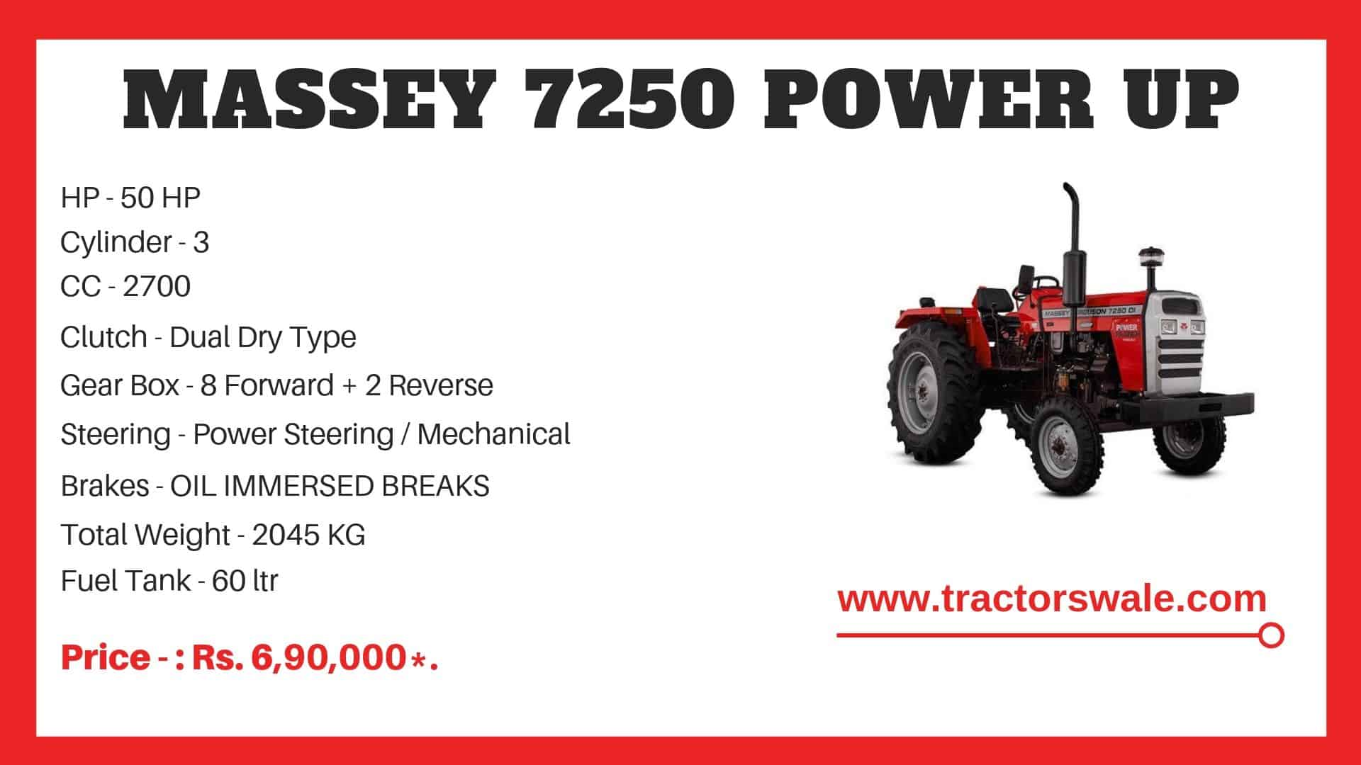 Specifications Of Massey Ferguson 7250 Power Up Tractor