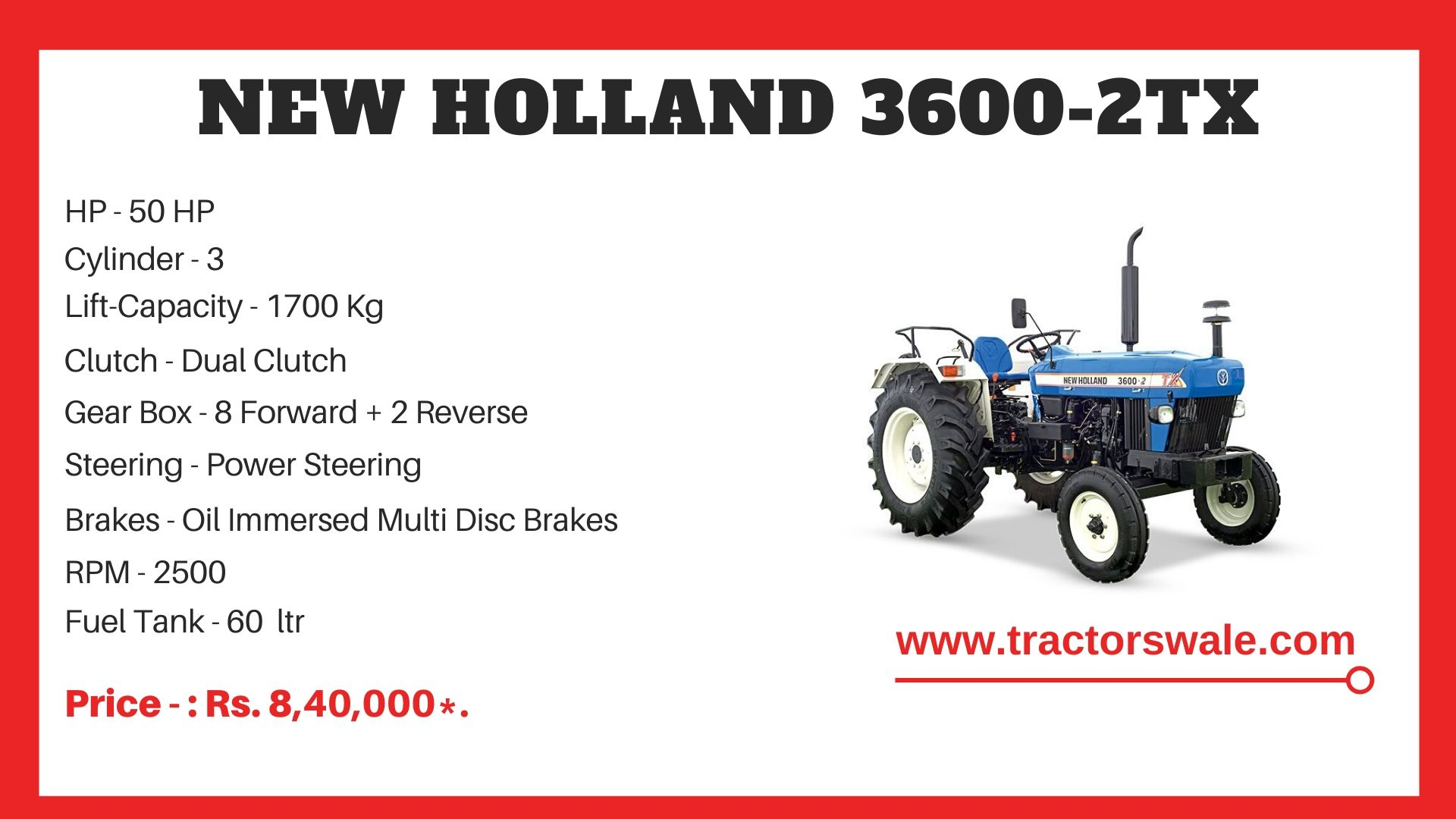 New Holland 3600 tractor specs