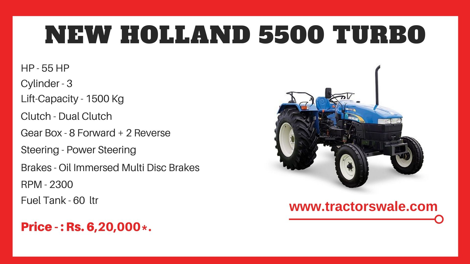New Holland 5500 tractor specs