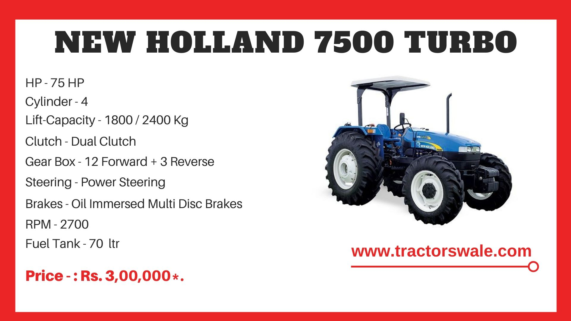 New Holland 7500 tractor specs