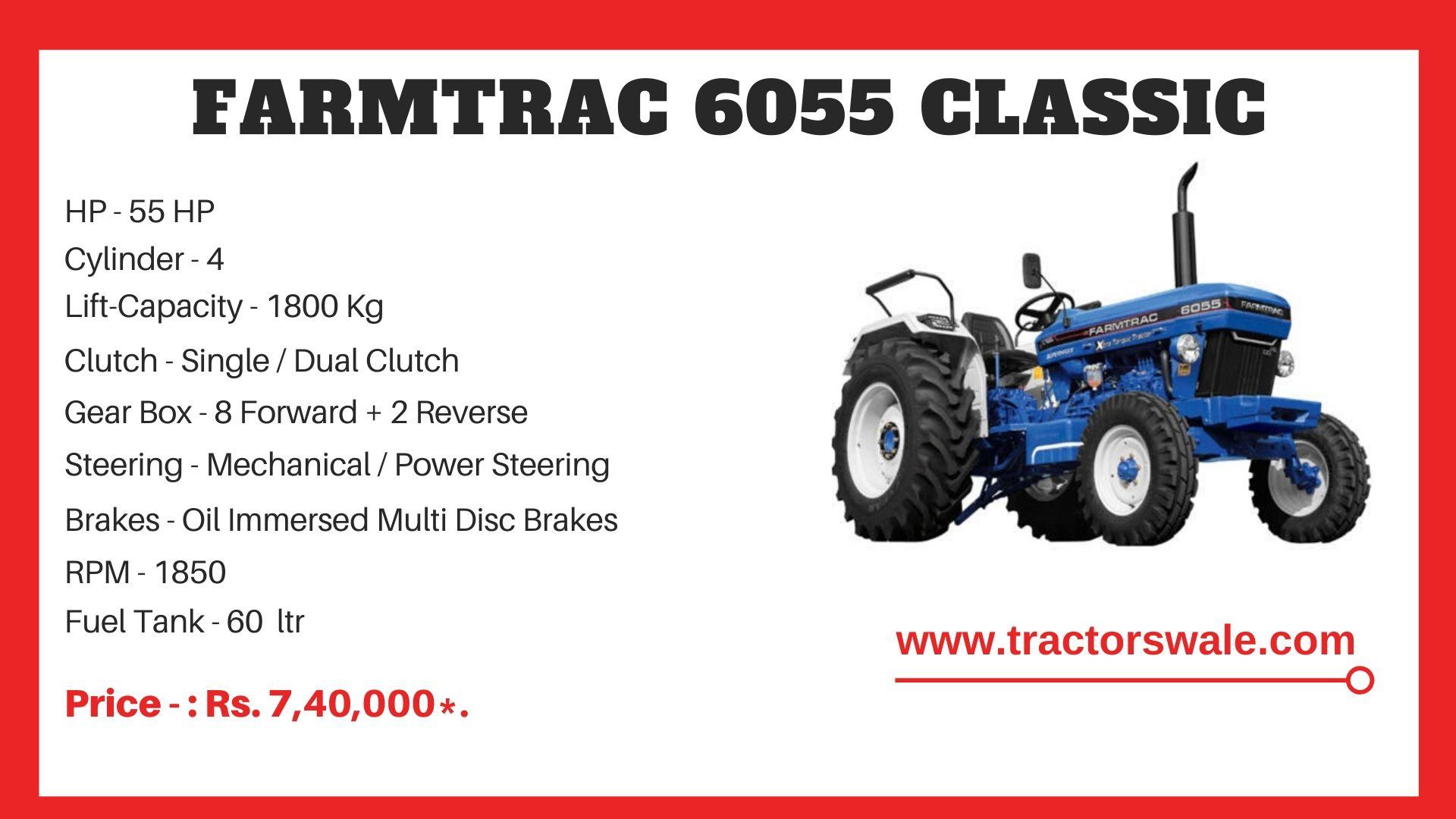 Farmtrac 6055 Classic tractor price