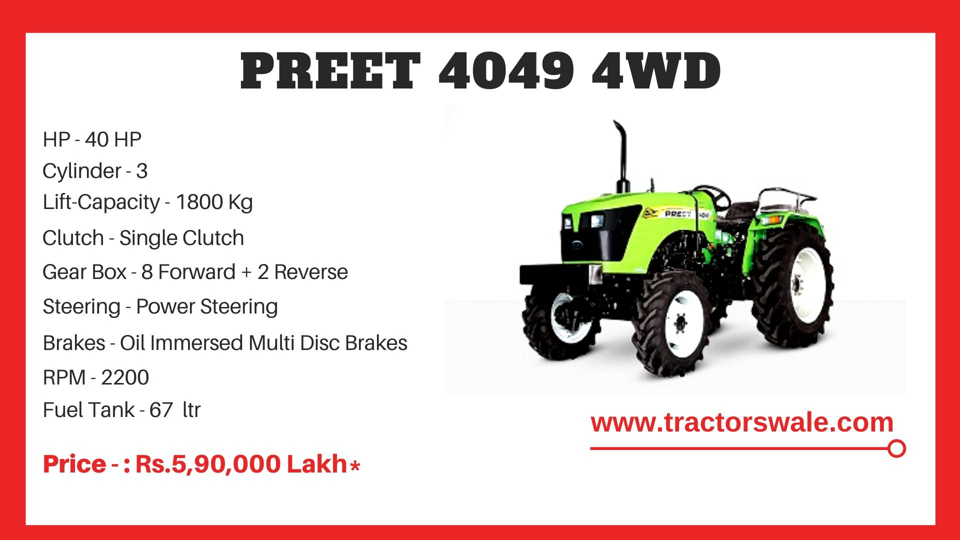 Preet 4049 4WD tractor price